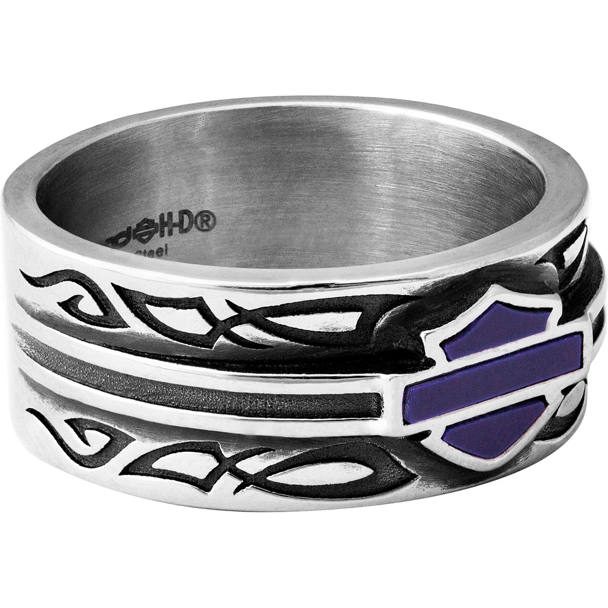 It is a picture of HSR39 - Harley-Davidson® Mens Stainless Steel Blue Celtic Enamel