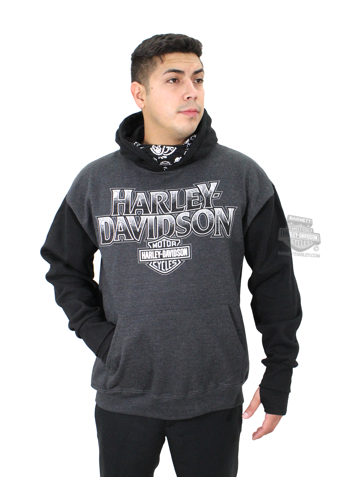 harley davidson mens bandana name b s pullover black long. Black Bedroom Furniture Sets. Home Design Ideas