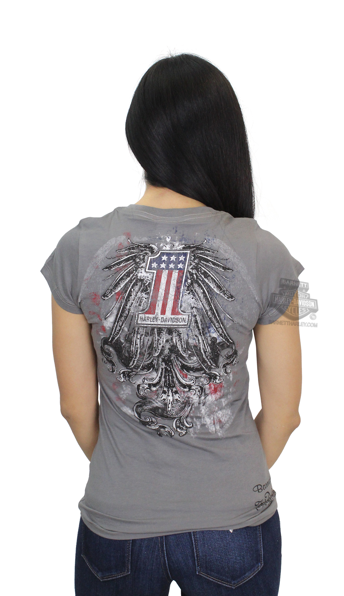 d44f7367 ** BIG SIZES ONLY ** Harley-Davidson® Womens One Mood #1 Logo with Wings  Foil with Studs Grey Short Sleeve T-Shirt *CYB*
