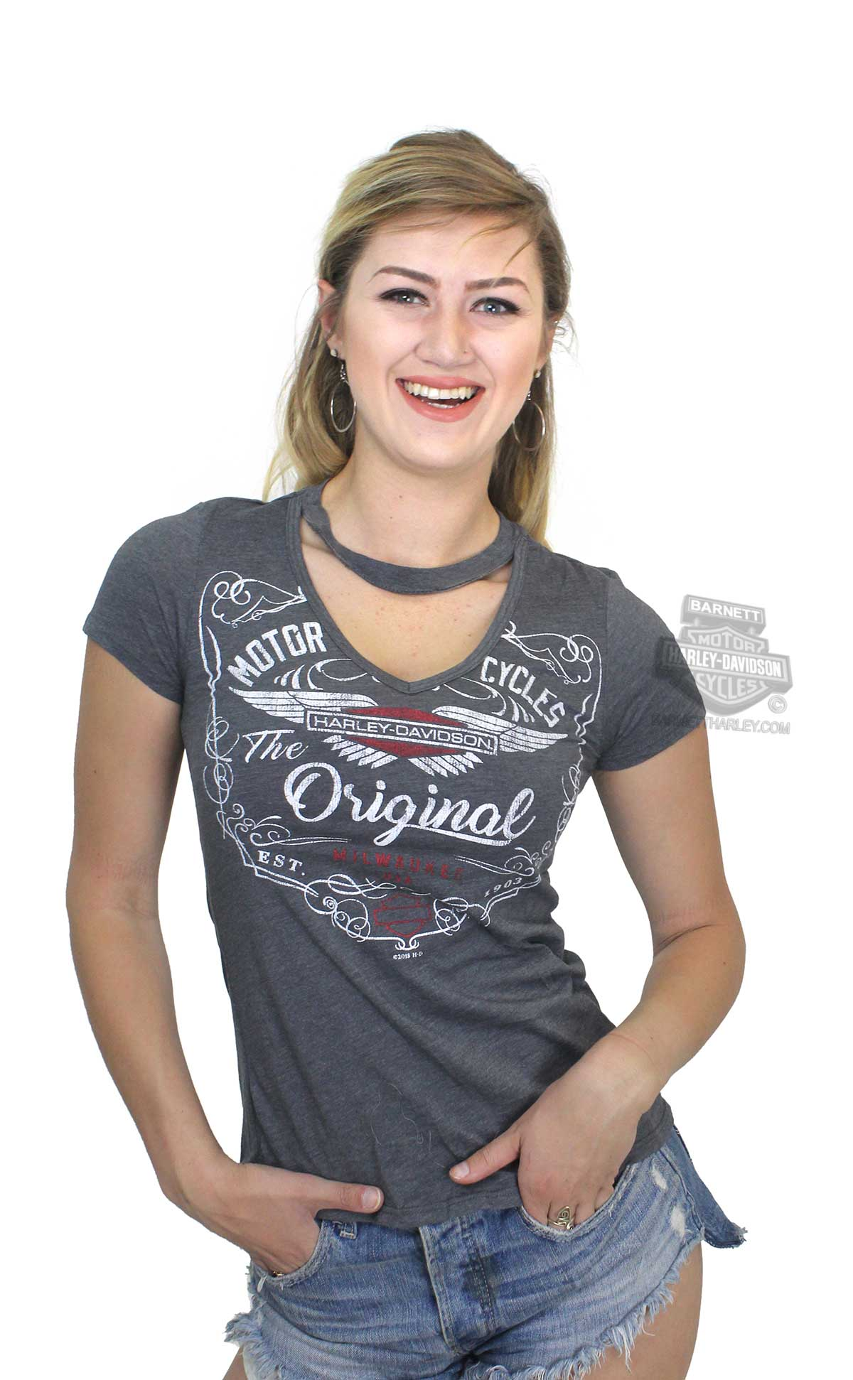 Harley Davidson Womens Mc Original Choker Collar V Neck Charcoal