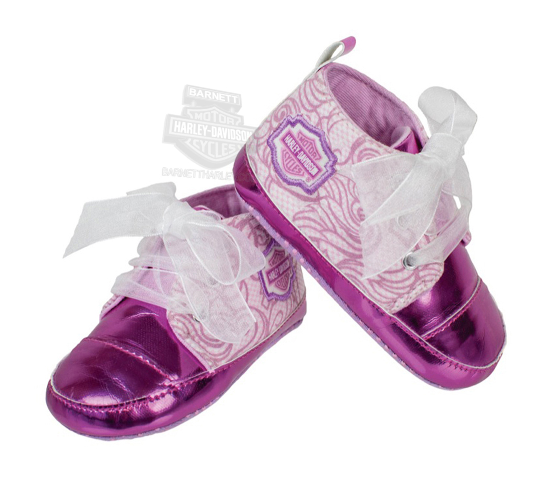 Harley-Davidson® Girls Baby B&S with Sheer Fabric Ties High Top Pink Pre-Walkers