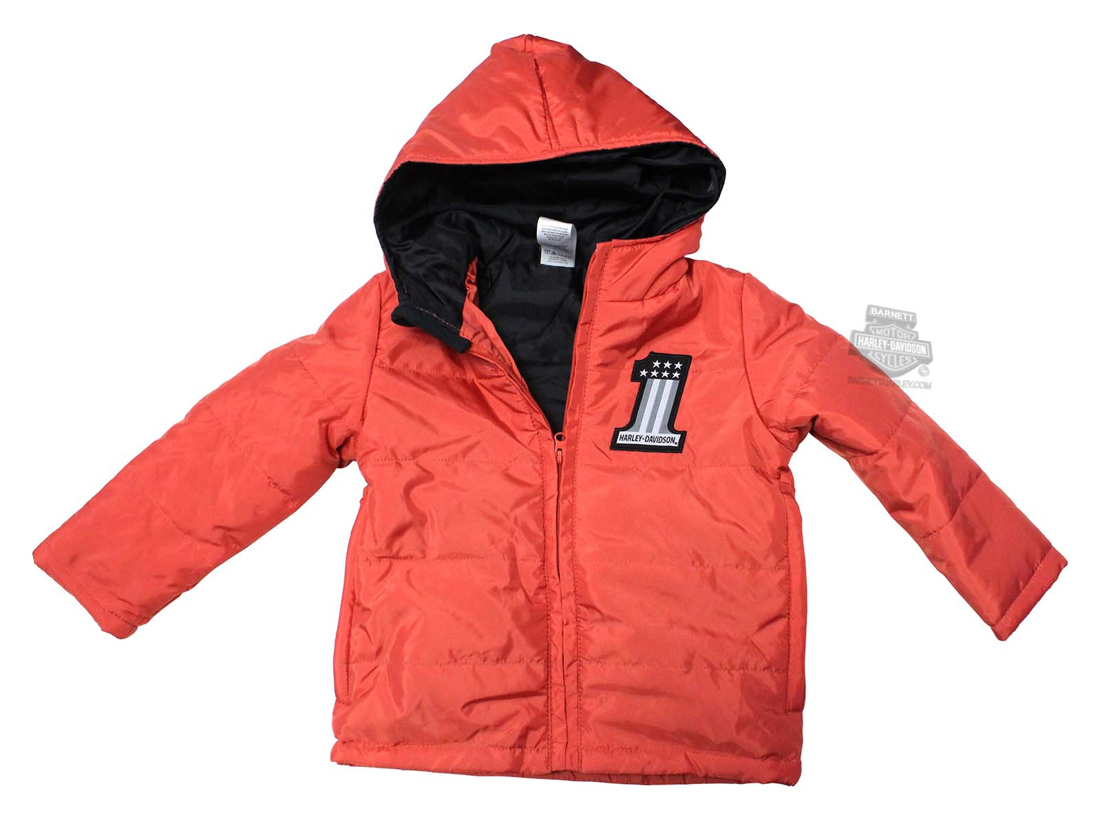 Harley-Davidson® Boys Youth B&S Logo Raglan Baseball Jersey Packable Puffer Orange Jacket