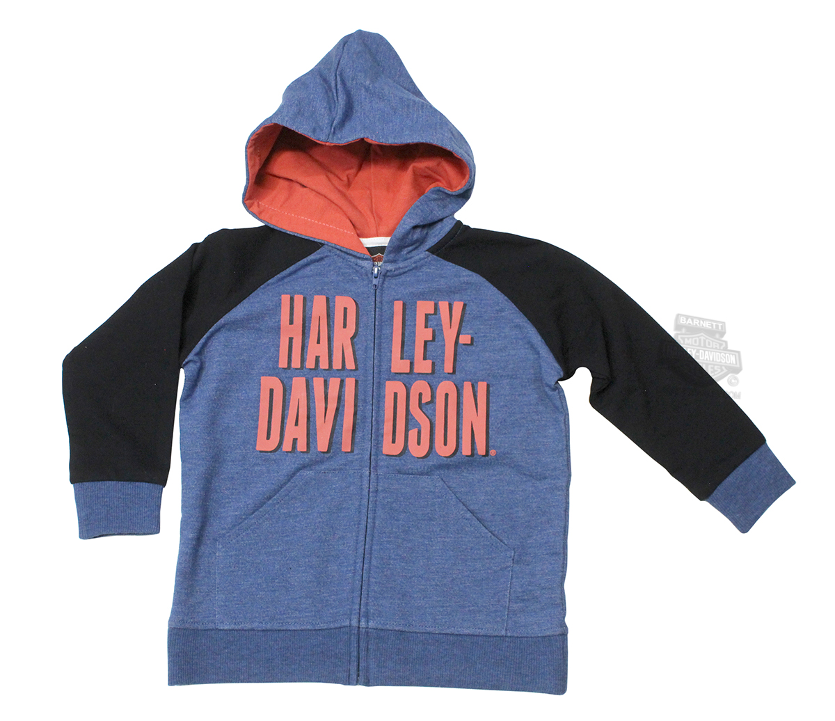 Harley-Davidson® Boys Youth French Terry Full Zip Blue Long Sleeve Hoodie