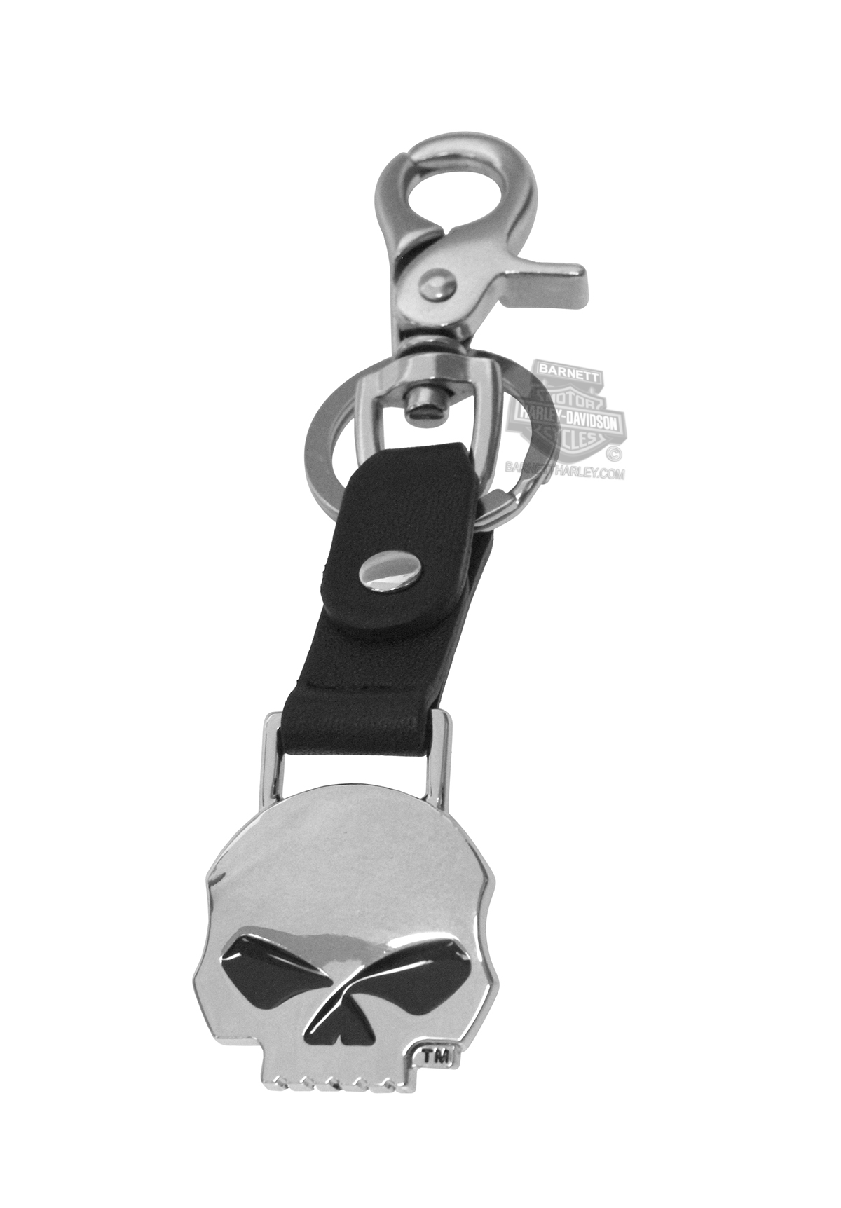 Harley-Davidson® Mens Willie G Skull Bottle Opener Black Leather Key Fob
