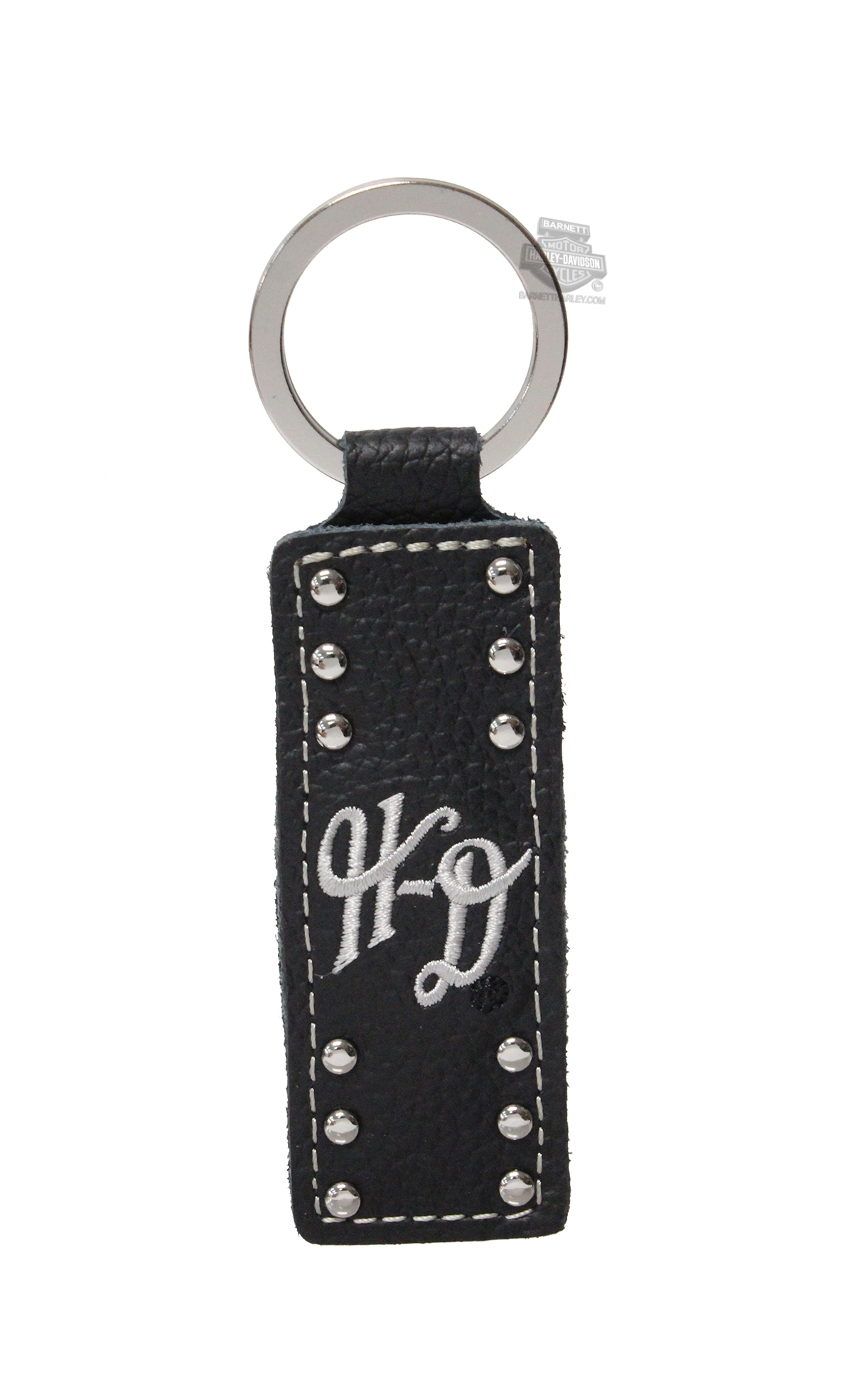 Harley-Davidson® Womens H-D Font with Studs Black Leather Key Fob