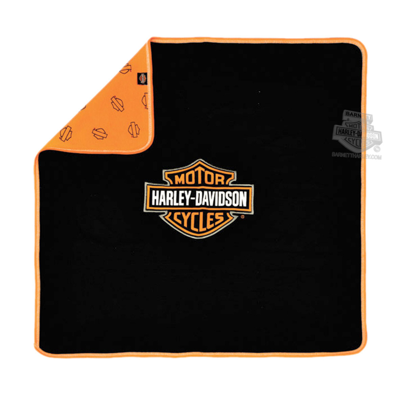 Harley-Davidson® Black and Orange Receiving Blanket One Size