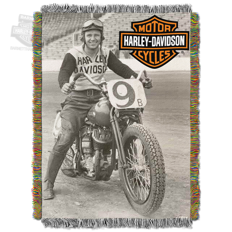 Harley-Davidson® Race Time Tapestry Blanket 48