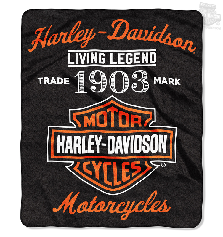 Harley-Davidson® Mens Legend 1903 B&S Raschel Black Blanket 50