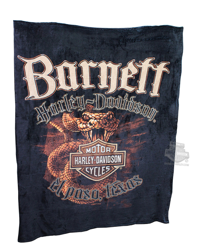 Harley-Davidson® Mens DTOM BHD Custom Silk Touch Throw Black Blanket 50