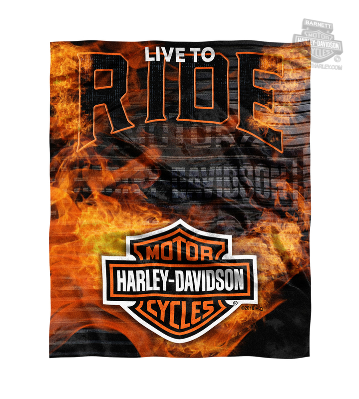 Harley-Davidson® Mens Firebreather Flames with B&S 50x60 Blanket 50