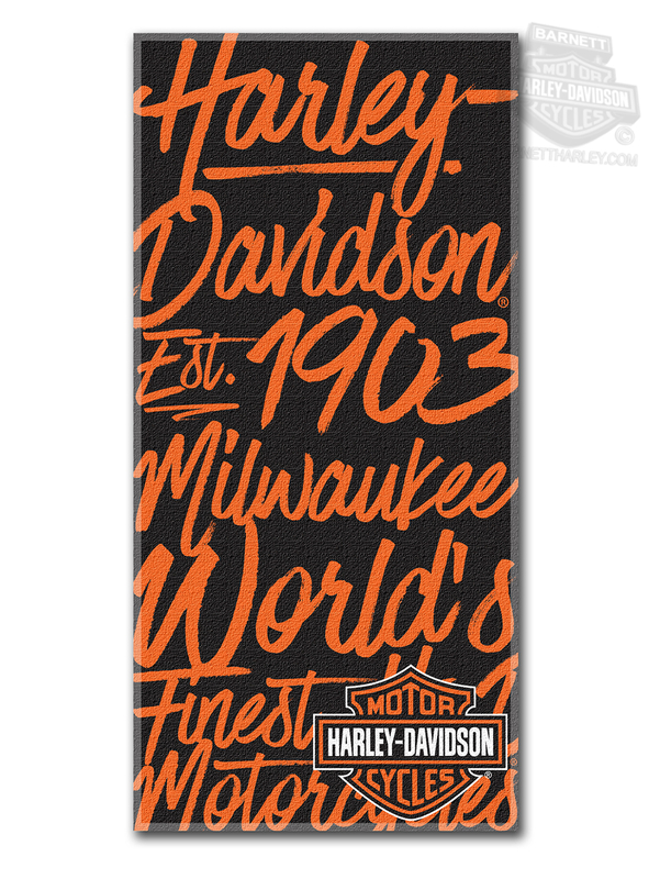 Harley-Davidson® Mens H-D Street Art Script Text with B&S Black Beach Towel 30