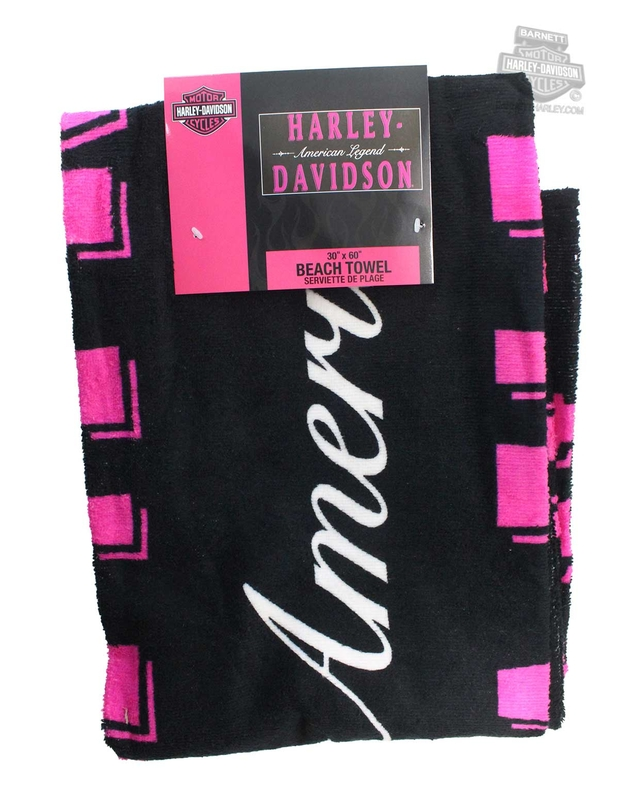 Harley-Davidson® Womens Heirloom H-D Name Legend 30 x 60 Black Beach Towel 30