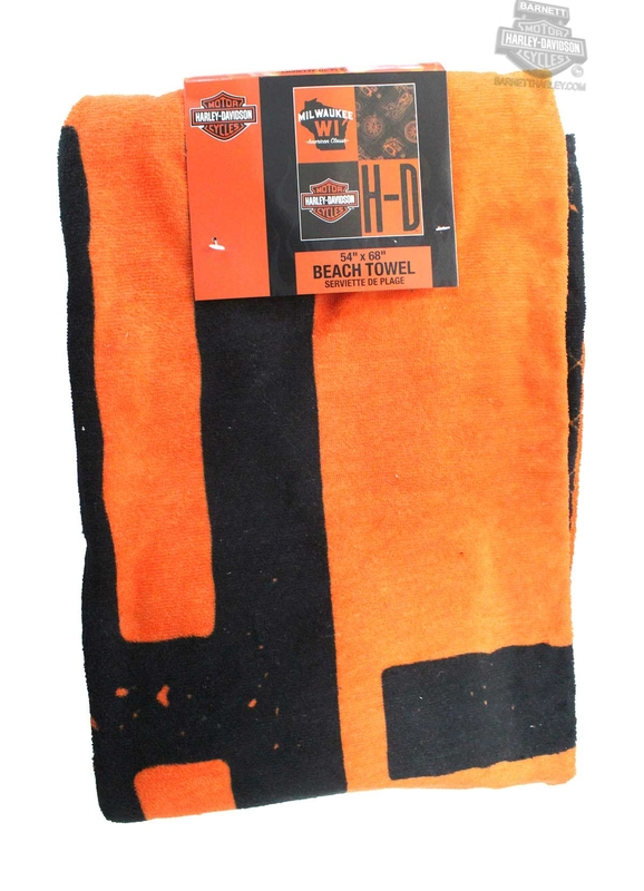 Harley-Davidson® Mens History H-D B&S Large 54 x 68 Orange Beach Towel 54