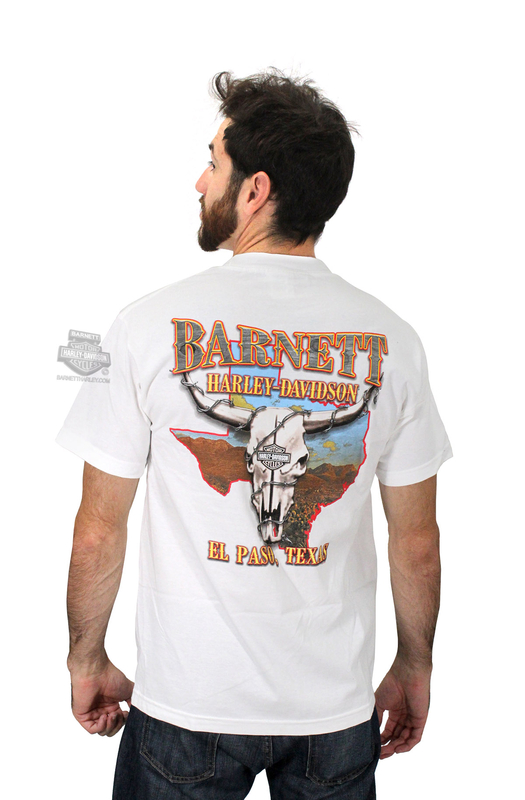 Harley-Davidson® Mens Elongated Orange B&S BHD Custom White Short Sleeve T-Shirt