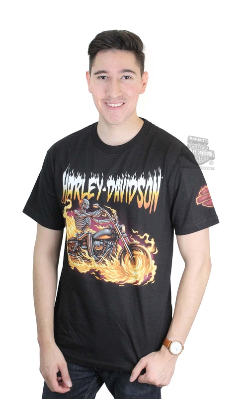 Harley-Davidson® Mens Tales From the Road Skeleton Flames Black Short Sleeve T-Shirt