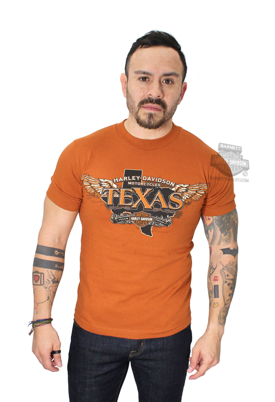Harley-Davidson® Mens Wings Over Texas Texas Orange Short Sleeve T-Shirt