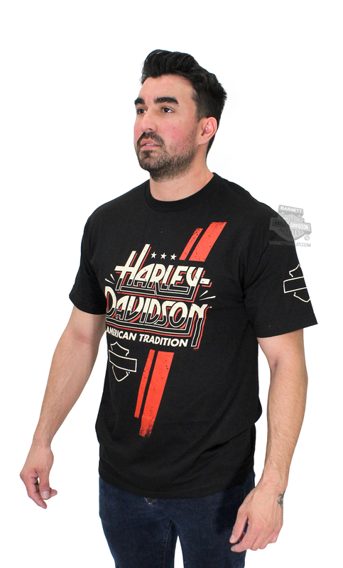 ** SIZE LARGE ONLY ** Harley-Davidson® Mens Racing Stripe B&S Black Short Sleeve T-Shirt *40th*