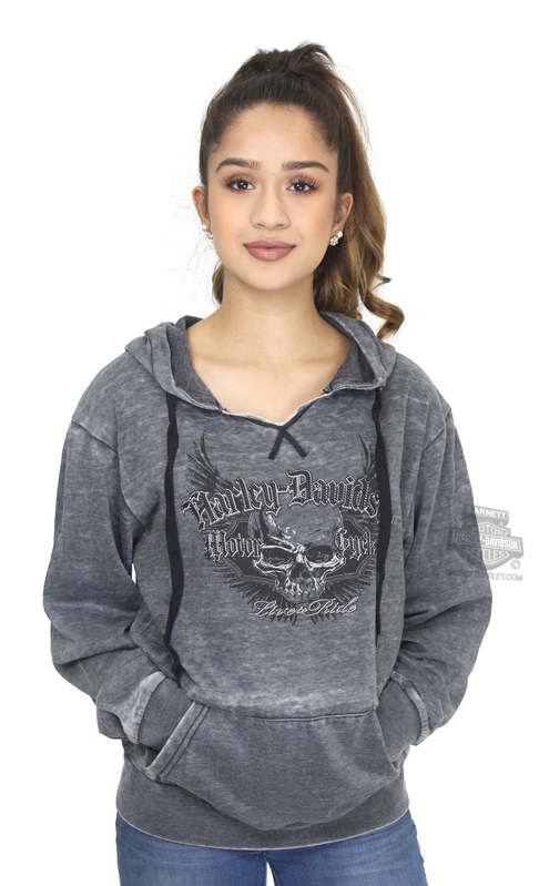 ** SIZE MEDIUM ONLY ** Harley-Davidson® Womens Pursuit Winged Skull Burnout Pullover Charcoal Long Sleeve Hoodie