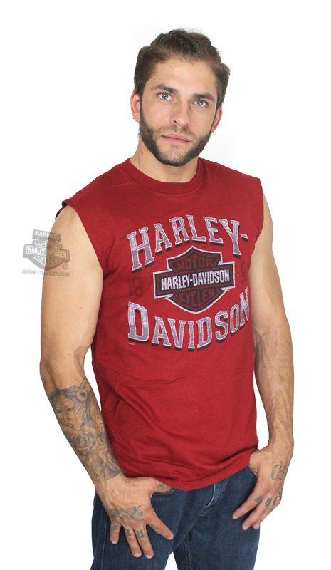 Harley-Davidson® Mens 1903 Era B&S Red Sleeveless Muscle T-Shirt