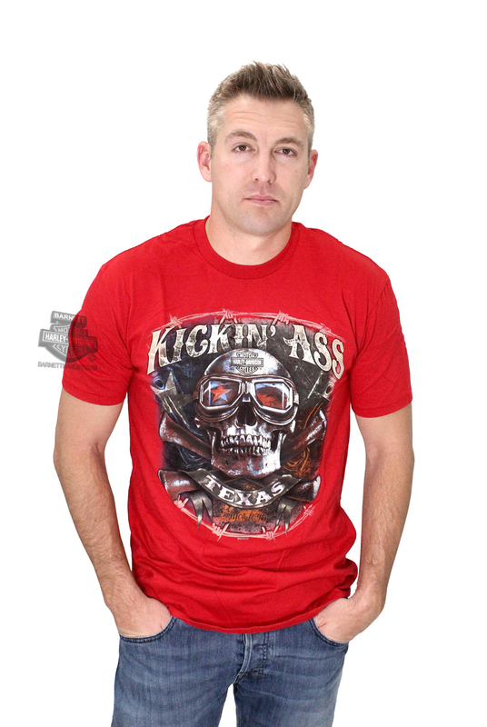 Harley-Davidson® Mens Texas Kickin Ass Since 1845 Red Short Sleeve T-Shirt