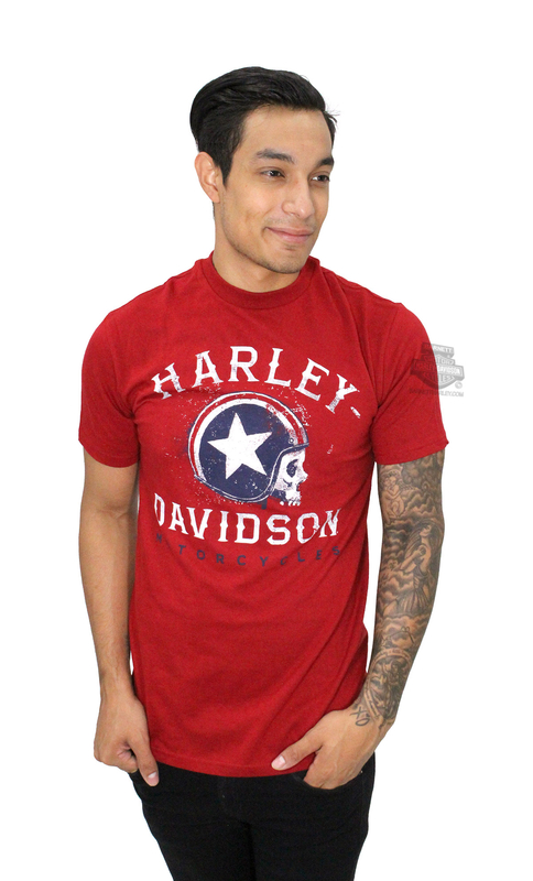 ** SIZE 2X ONLY ** Harley-Davidson® Mens Legend of the Speedway Skull with Helmet Red Short Sleeve T-Shirt