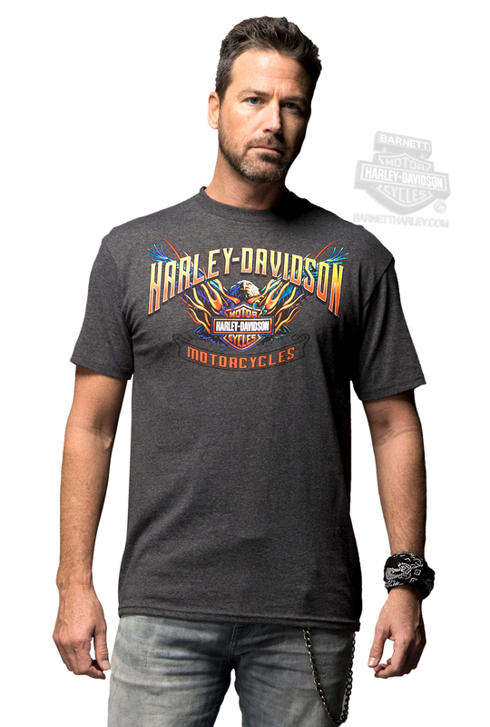 ** BIG SIZES ONLY ** Harley-Davidson® Mens Chrome Journey Flaming B&S with Eagle Charcoal Short Sleeve T-Shirt