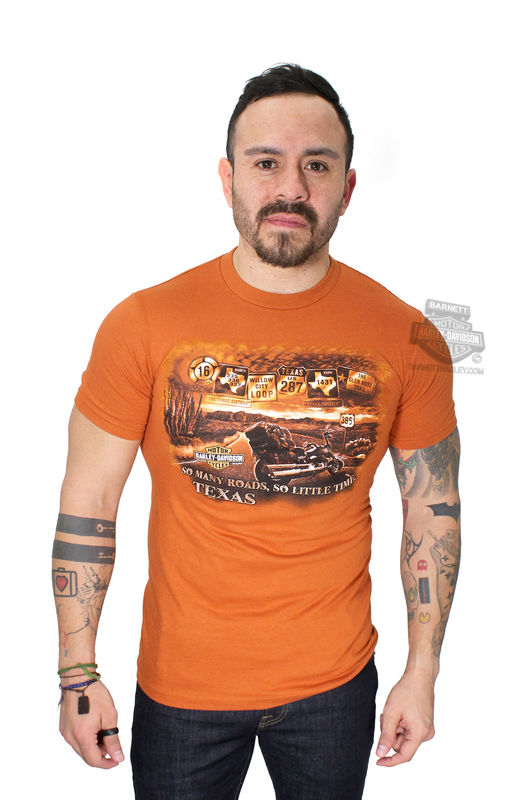 Harley-Davidson® Mens Texas So Many Roads Orange Short Sleeve T-Shirt