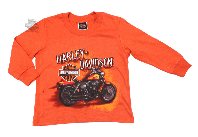 ** Toddler-2T/3T  ONLY ** Harley-Davidson® Boys Youth Hold Tight Motorcycle Orange Long Sleeve T-Shirt