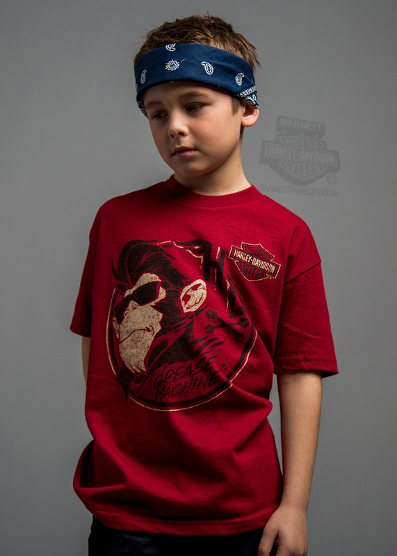 ** SIZE X-SMALL-05Y ONLY ** H-D® Boys Youth Burnt Betelgeuse Monkey with Shades Cardinal Short Sleeve T-Shirt *CYB*