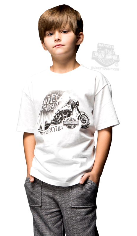 ** SIZE 2T/3T ONLY ** Harley-Davidson® Boys Youth Rally Life Motorcycle White Short Sleeve T-Shirt *CYB*
