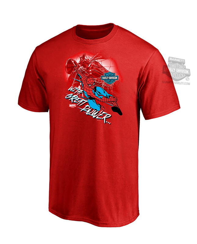 Harley-Davidson® Boys Youth Marvel With Great Power II Spiderman Red Short Sleeve T-Shirt