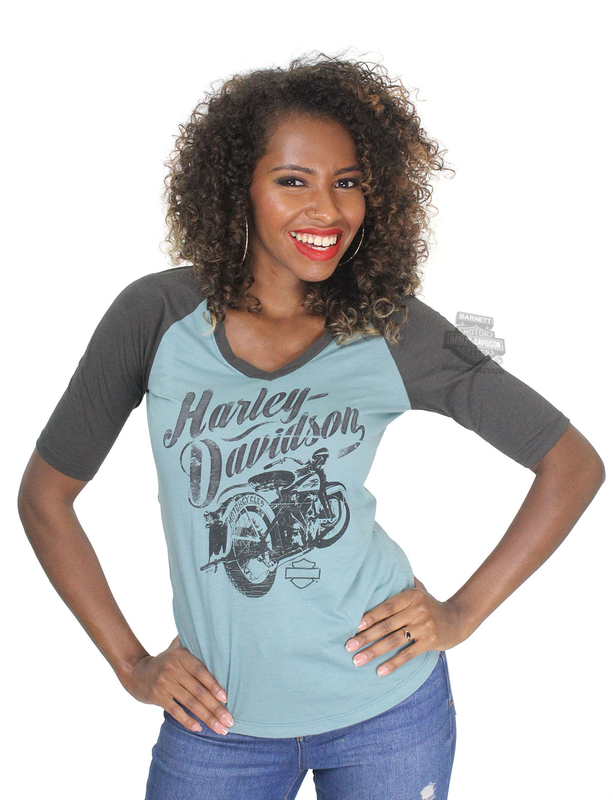 ** SMALL SIZES ONLY ** Harley-Davidson® Womens Frozen Storm Motorcycle Raglan V-Neck Blue Half Sleeve T-Shirt