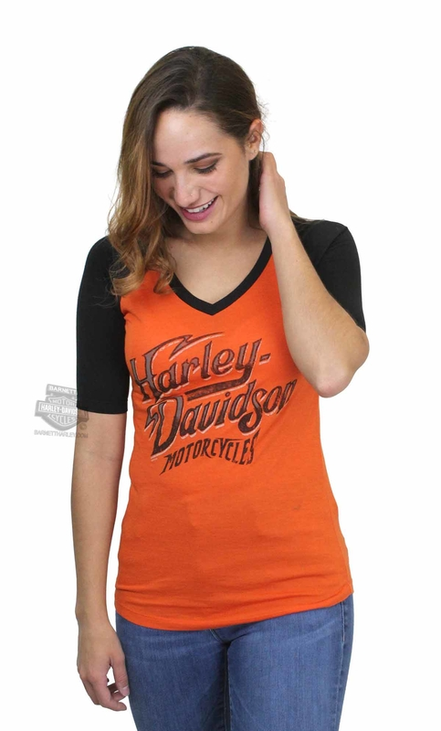 ** SMALL & BIG SIZES ONLY ** Harley-Davidson® Womens Don't Blend Raglan V-Neck Orange Half Sleeve T-Shirt
