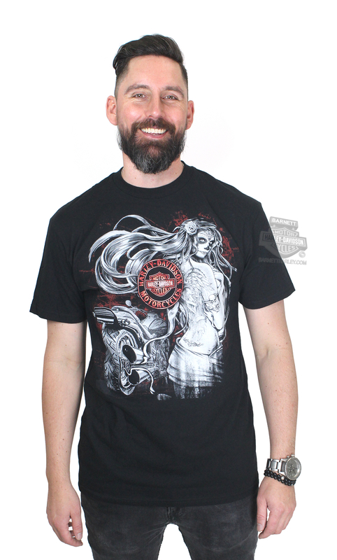 Harley-Davidson® Mens Dia de los Muertos Pinup Black Short Sleeve Performance T-Shirt with Wicking