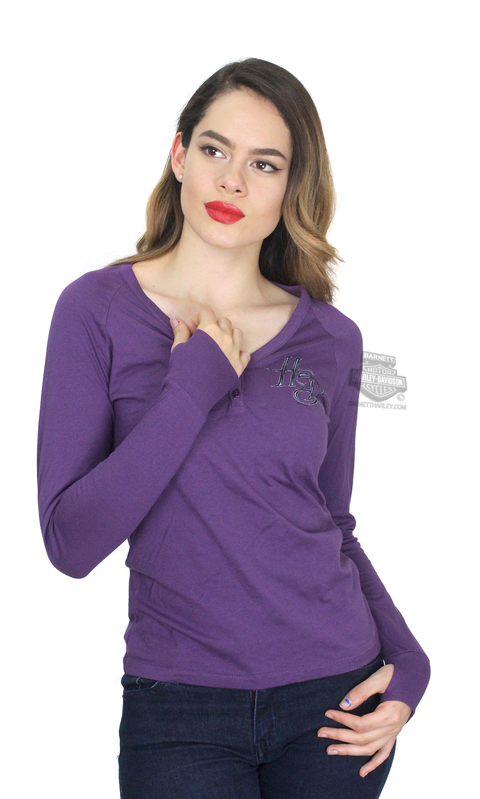 ** SMALL SIZES ONLY ** Harley-Davidson® Womens Instill Life H-D V-Neck Purple Long Sleeve Henley