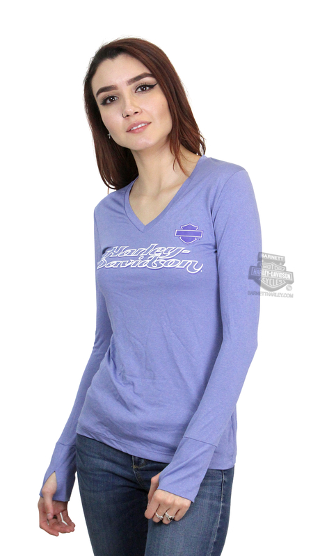 Harley-Davidson® Womens All Polished Synthetic V-Neck Purple Long Sleeve T-Shirt *36H3*