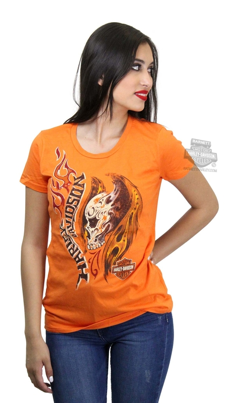 Harley-Davidson® Womens Beast Pop Flaming Skull Orange Short Sleeve T-Shirt