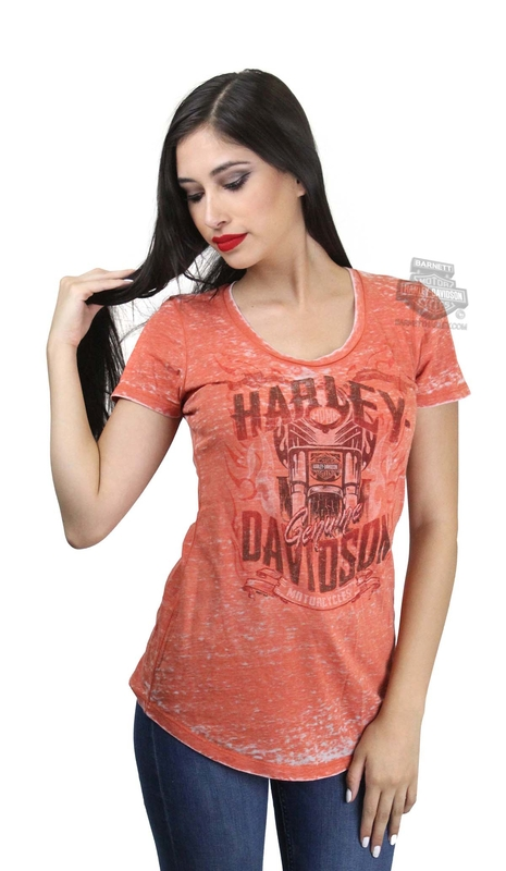 Harley-Davidson® Womens Raging Chrome Motorcycle Burnout Orange Short Sleeve T-Shirt *CYB*