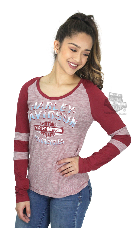 ** SMALL SIZES ONLY ** Harley-Davidson® Womens Crimson Chrome Trademark B&S Raglan Red Long Sleeve T-Shirt