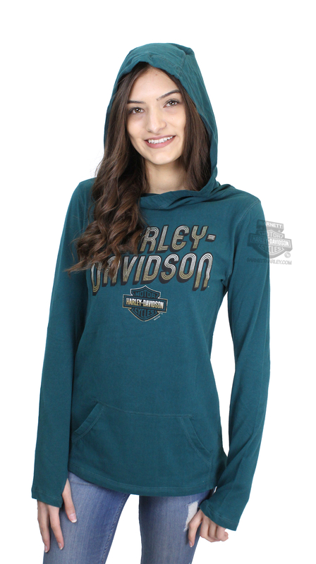 Harley-Davidson® Womens Dynamic Reaction B&S Cowl Pullover Green Long Sleeve Hoodie