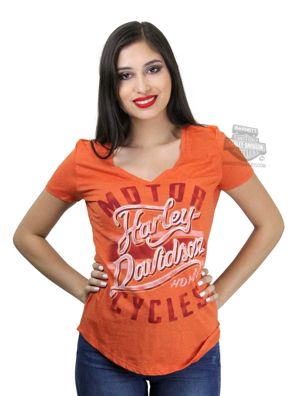 ** SIZE SMALL ONLY ** Harley-Davidson® Womens Livin In Chrome V-Neck Orange Short Sleeve T-Shirt