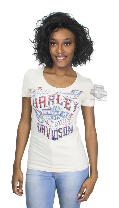 ** SMALL SIZES ONLY ** Harley-Davidson® Womens Sparkle B&S Flames with Rhinestones Tan Short Sleeve T-Shirt