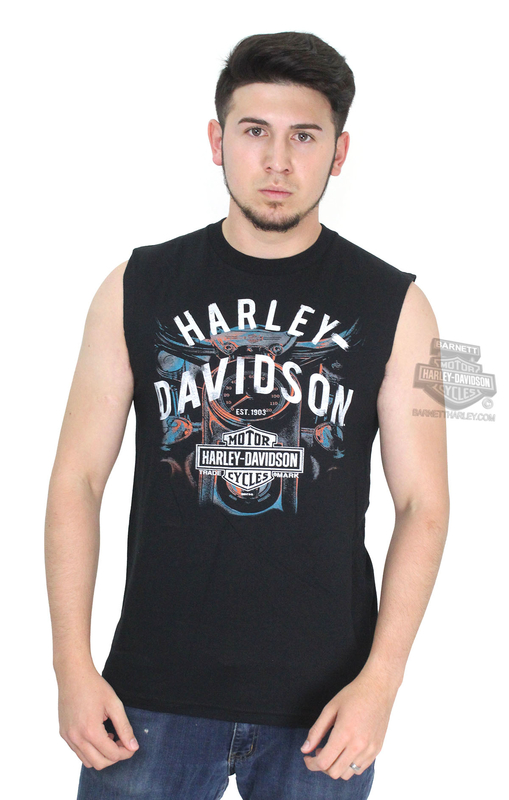 Harley-Davidson® Mens Mischief Starter Trademark B&S Black Sleeveless Muscle T-Shirt