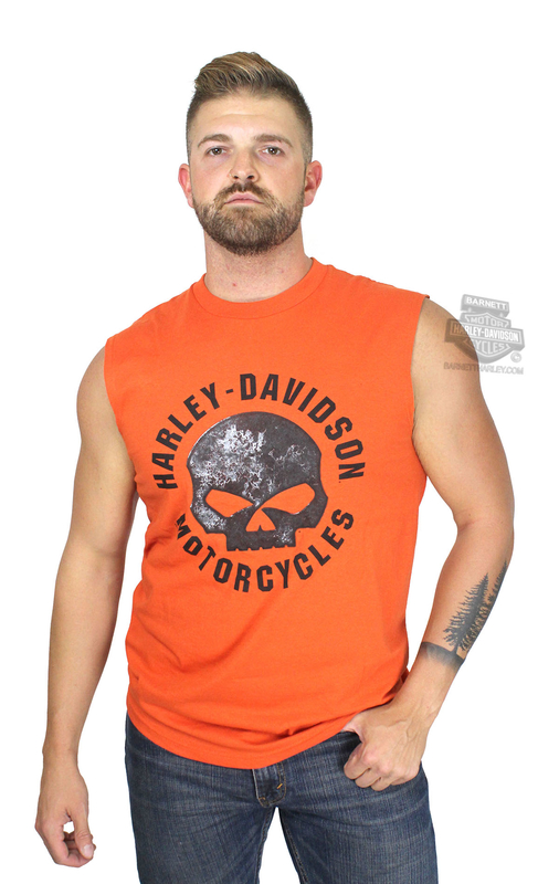 ** SMALL & BIG SIZES ONLY ** Harley-Davidson® Mens Riding with Fate Willie G Skull Orange Sleeveless Muscle T-Shirt