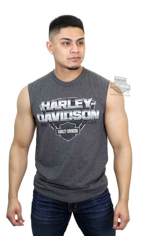 Harley-Davidson® Mens Fortified Steel B&S Charcoal Sleeveless Muscle T-Shirt