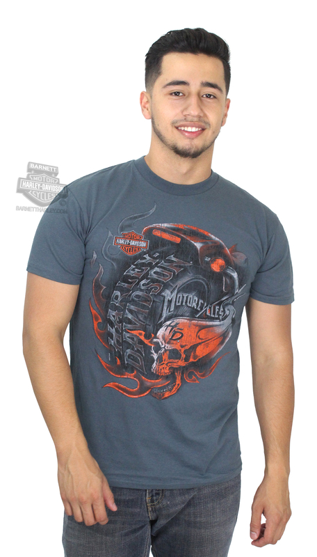 Harley-Davidson® Mens Hourly Obsession Flaming Skull Charcoal Short Sleeve T-Shirt *40th*