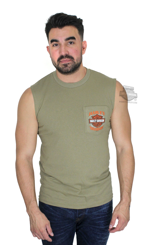 Harley-Davidson® Mens Wheels of Fate B&S Pocket Green Sleeveless Muscle T-Shirt *40th*