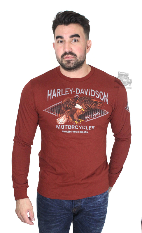 Harley-Davidson® Mens Versus the Wind Diamond Eagle Red Long Sleeve T-Shirt