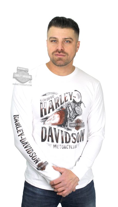 ** SMALL & BIG SIZES ONLY ** Harley-Davidson® Mens Wrought Iron Motorcycle White Long Sleeve T-Shirt