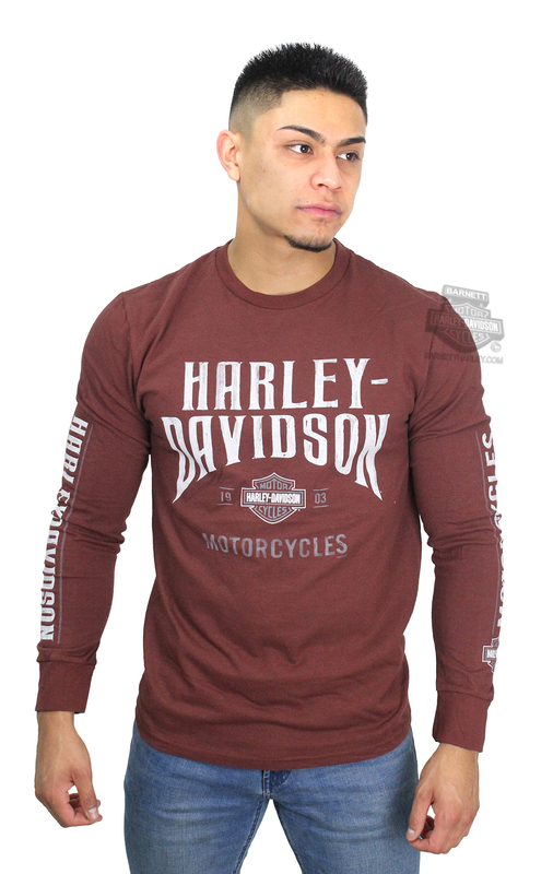 Harley-Davidson® Mens Concrete Frontier B&S Burgundy Long Sleeve T-Shirt